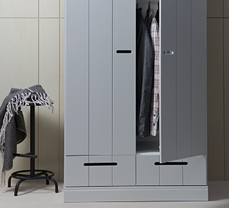 Connect 2-doors - drawer - strip doors concrete grey [fsc]