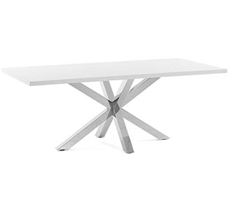 Argo tafel 160 cm wit melamine roestvrij benen