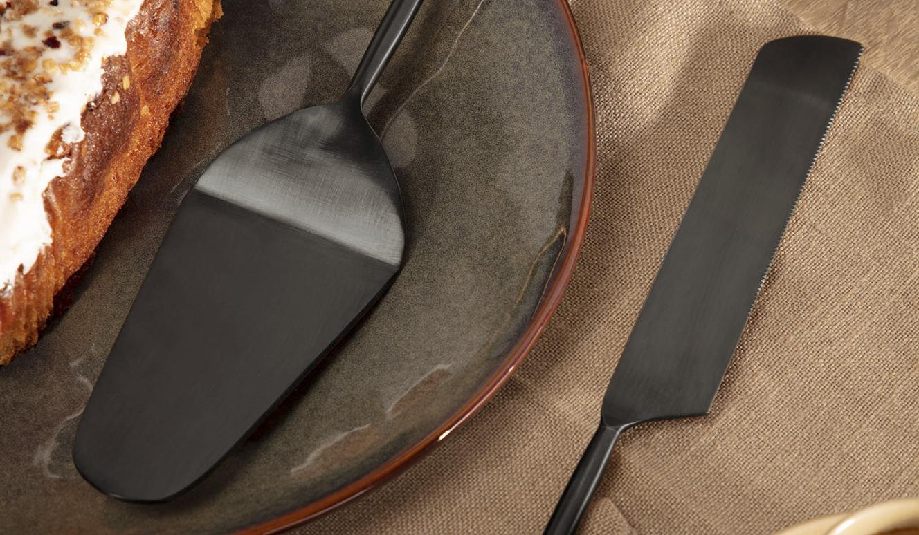 Bestek Fer van 2 taartscheppen zwart