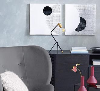 Groot schilderij Prism 50 x 50 cm met grijze achtergrond