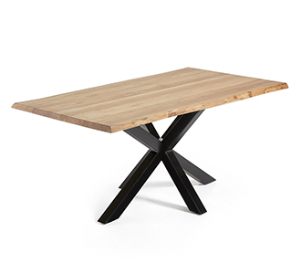 Argo tafel 180 cm natuurlijke eik benen zwart
