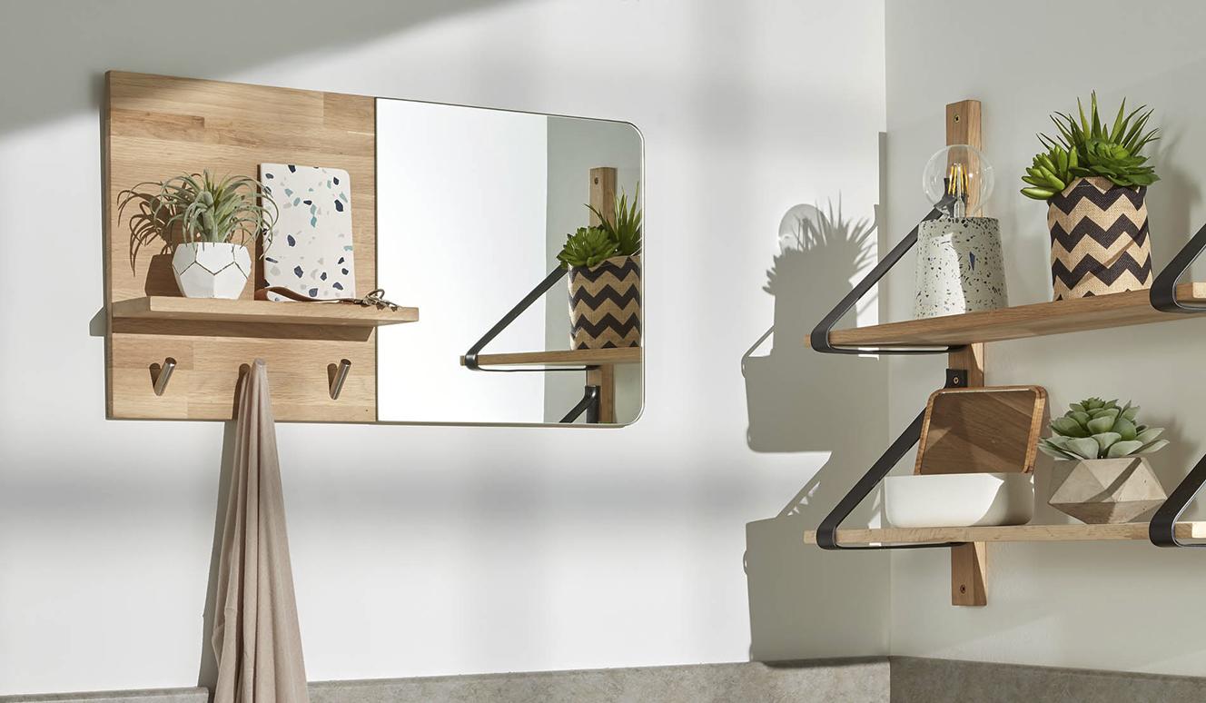 Spiegel en kaptstok Maiten 65 x 35 cm