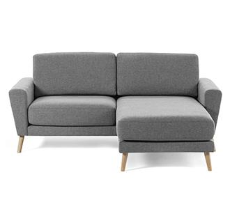 3-zitsbank Narnia chaise longue lichtgrijs 192 cm