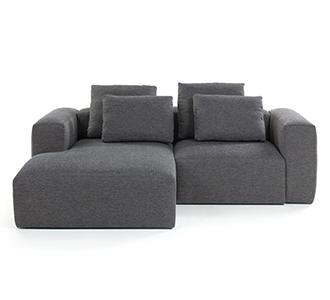 Bank Blok chaise longue links 2 zitplaatsen donkergrijs kussens inbegrepen