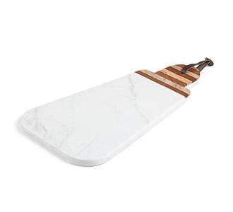 Bryant ovale driehoekige snijplank wit marmer handvat