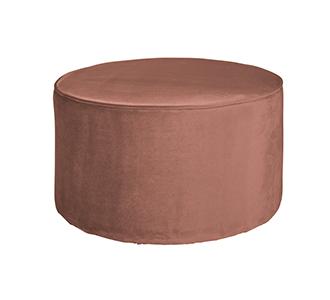 Sara round pouf low velvet old pink