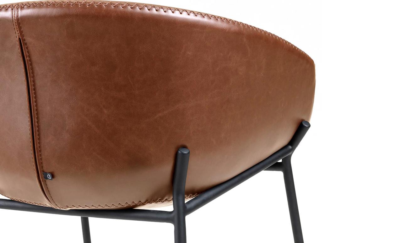 Barkruk Yvette bruin synthetisch leer hoogte 65 cm