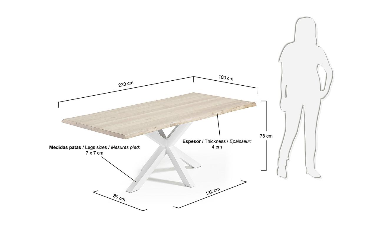 Argo tafel 220 cm gebleekt eik wit benen