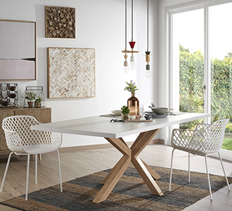 Argo tafel 160 cm wit melamine hout effect benen