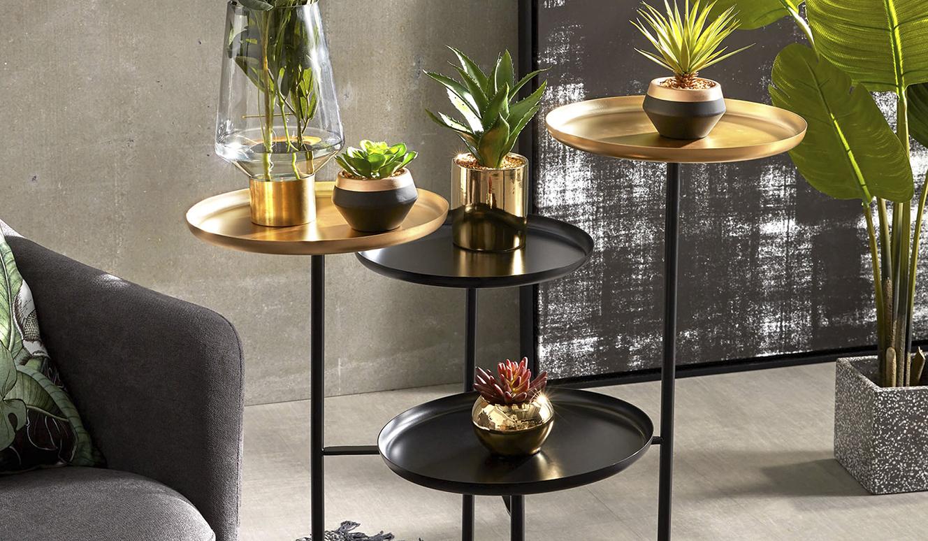 Kunstplant sedum lucidum in goudkleur keramische pot