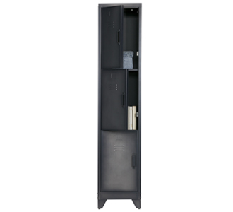 Cas lockercabinet 3 dr metal black