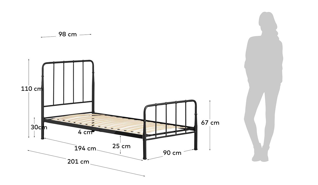 Bed Naomy 90 x 190 cm grafiet