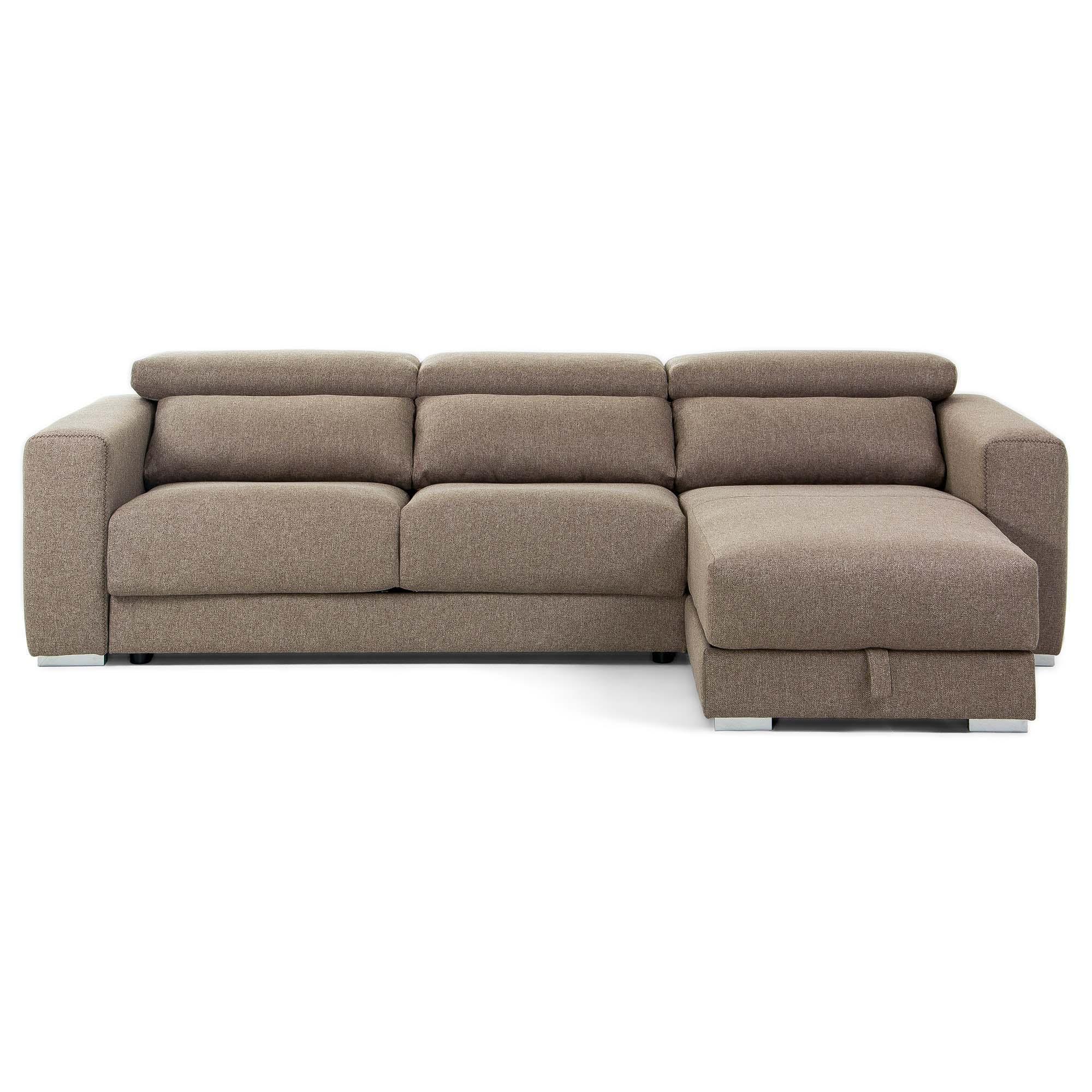 Atlanta 3-zitsbank chaise longue bruin 290 cm