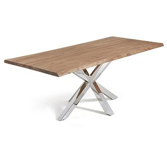 Argo tafel 220 cm verouderde eik roestvrij benen