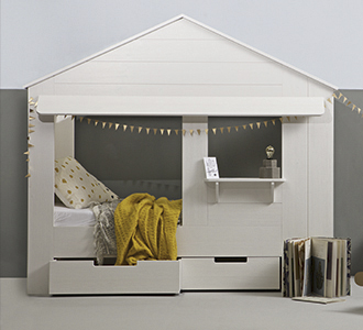 Huisie cupboard bed white, excl. beddrawers [fsc]