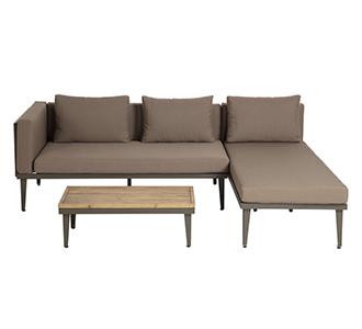 Set Pascale bank, chaise longue en bijzettafel