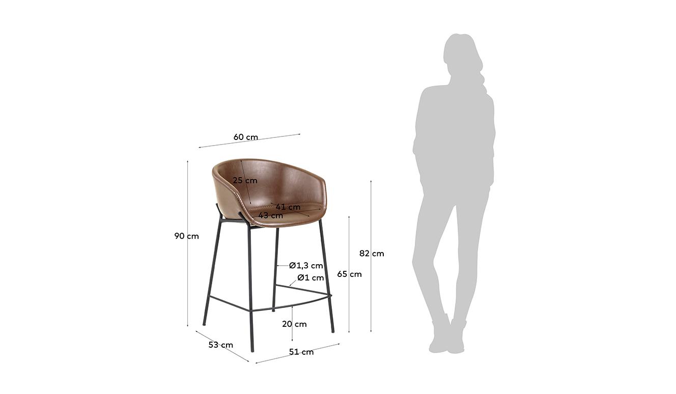 Barkruk Yvette bruin synthetisch leer hoogte 74 cm