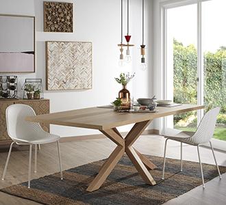 Argo tafel 160 cm natuurlijke melamine hout effect benen