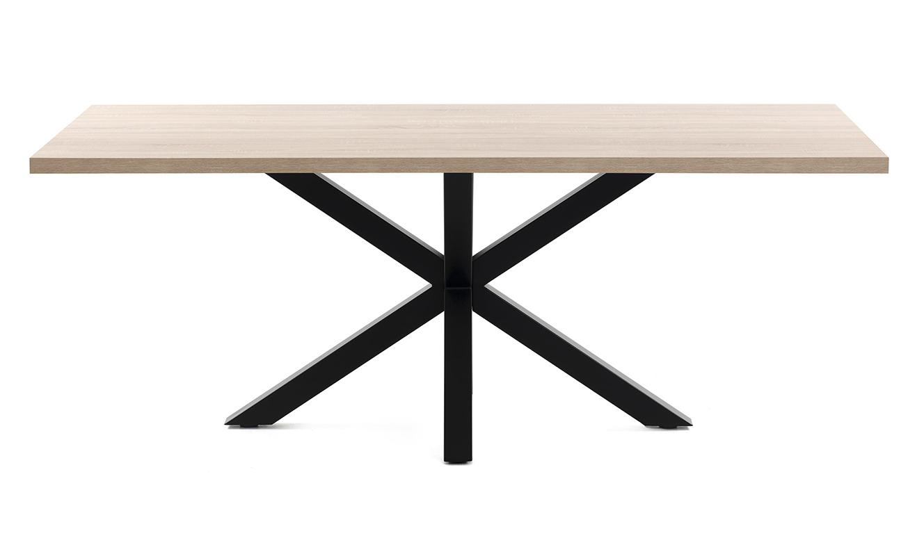 Argo tafel 160 cm natuurlijke melamine zwart benen