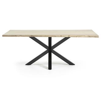 Argo tafel 220 cm gebleekt eik zwarte benen