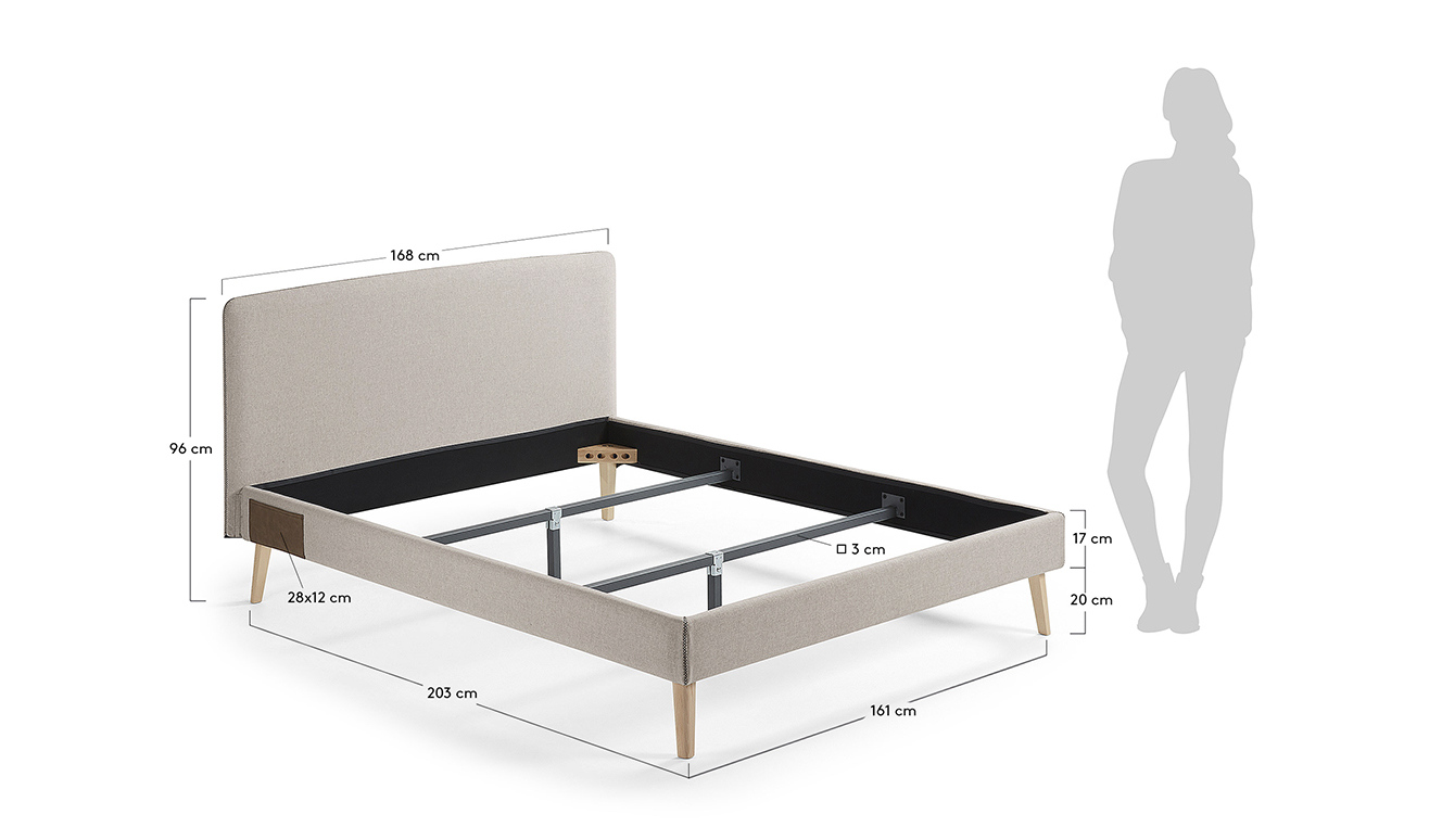 Dyla bed 150 x 190 cm beige