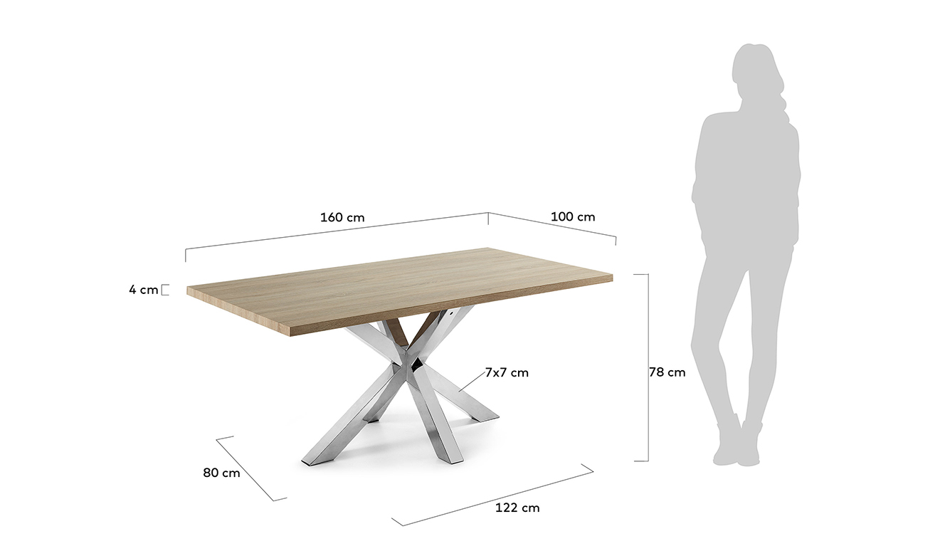 Argo tafel 160 cm natuurlijke melamine roestvrij benen