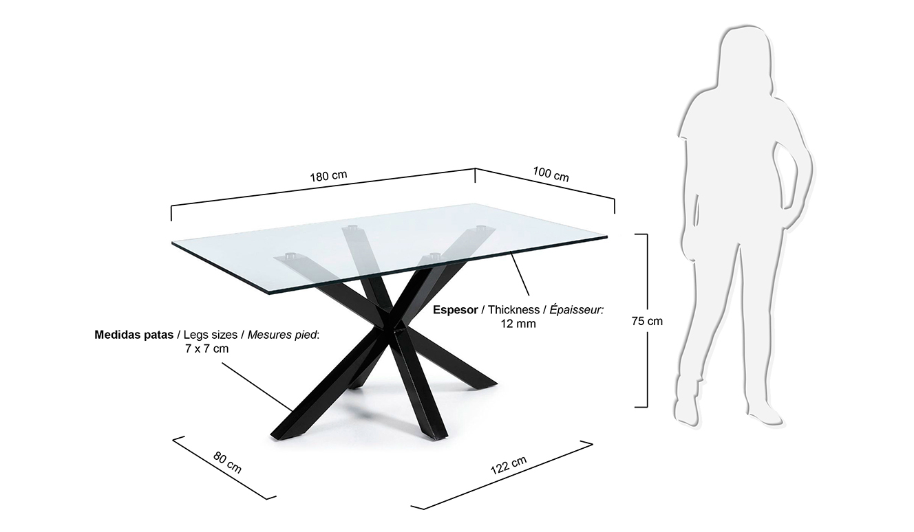 Argo tafel 180 cm glas zwarte benen