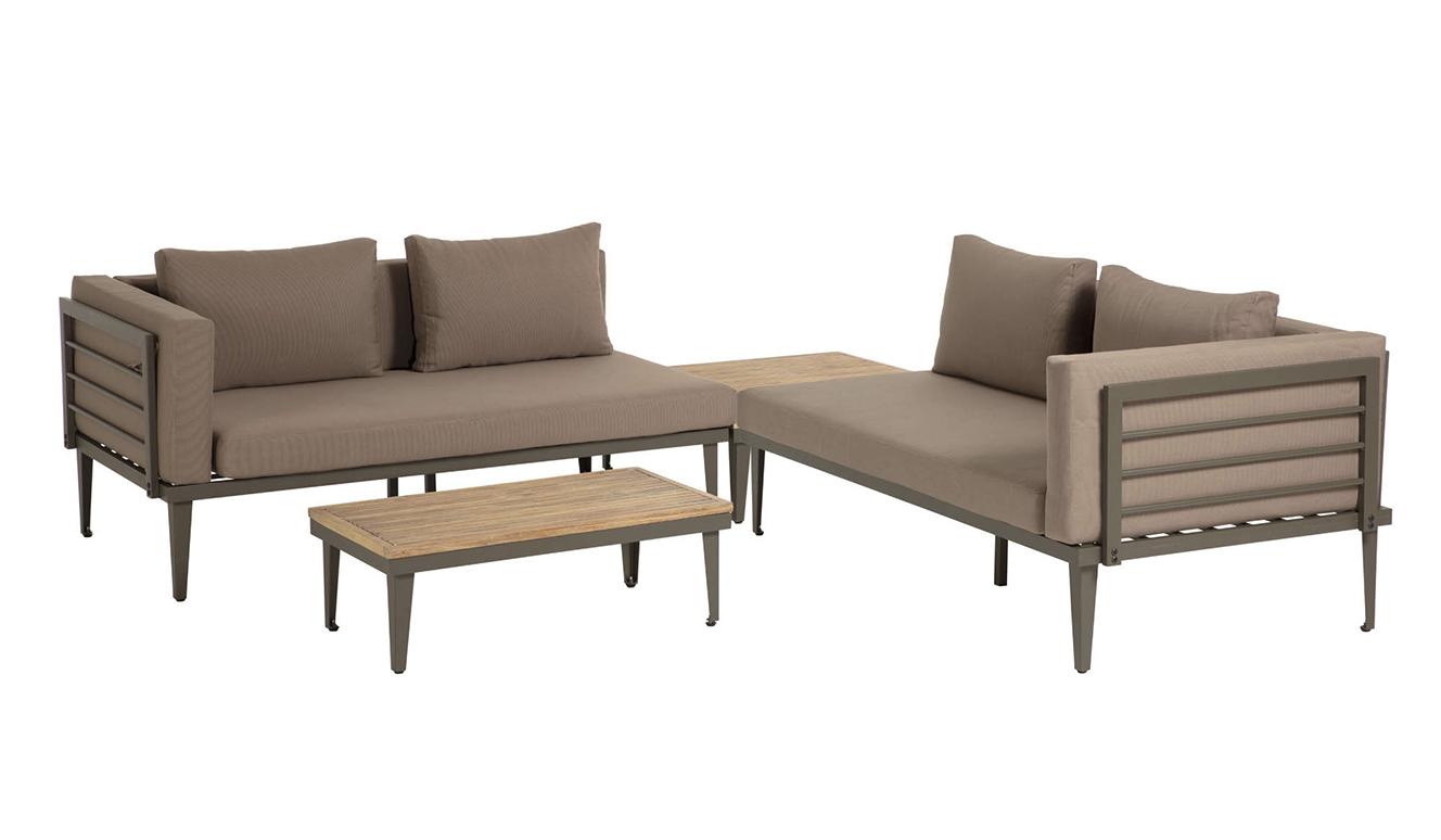 Set Pascale bank, salontafel en bijzettafel