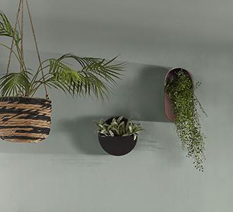 Muur plantenpot Aldina zwart