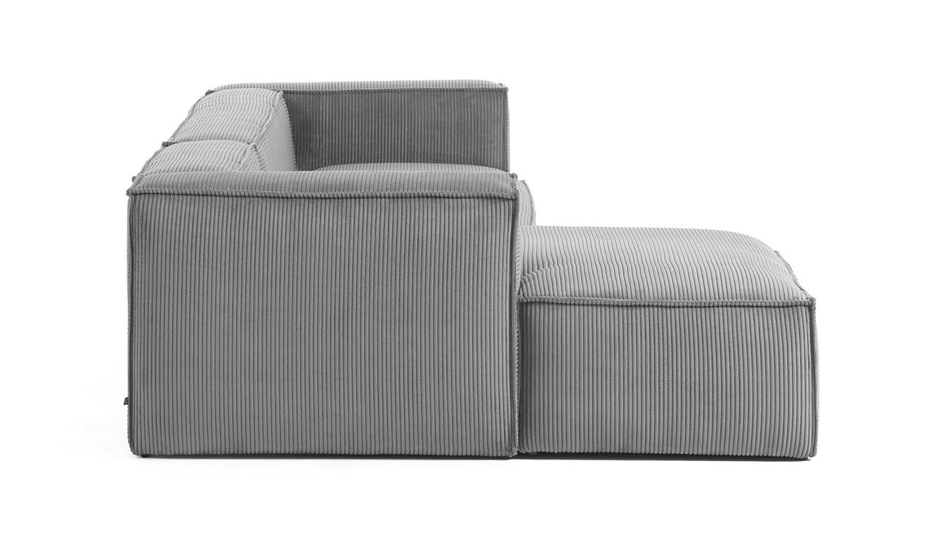 3 persoonsbank Blok met chaise longue links van grijs corduroy 330 cm