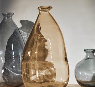 Breena medium glazen vaas bruin 100% gerecycled