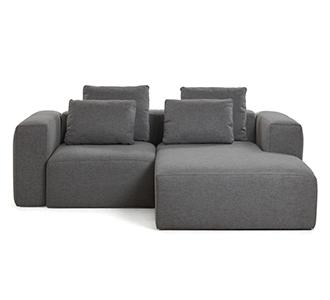 Bank Blok chaise longue rechts 2 zitplaatsen donkergrijs kussens inbegrepen