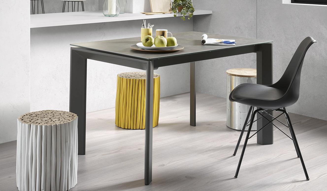 Axis uitschuifbare tafel 140 (200) cm porselein afwerking Vulcano Ash antraciet benen