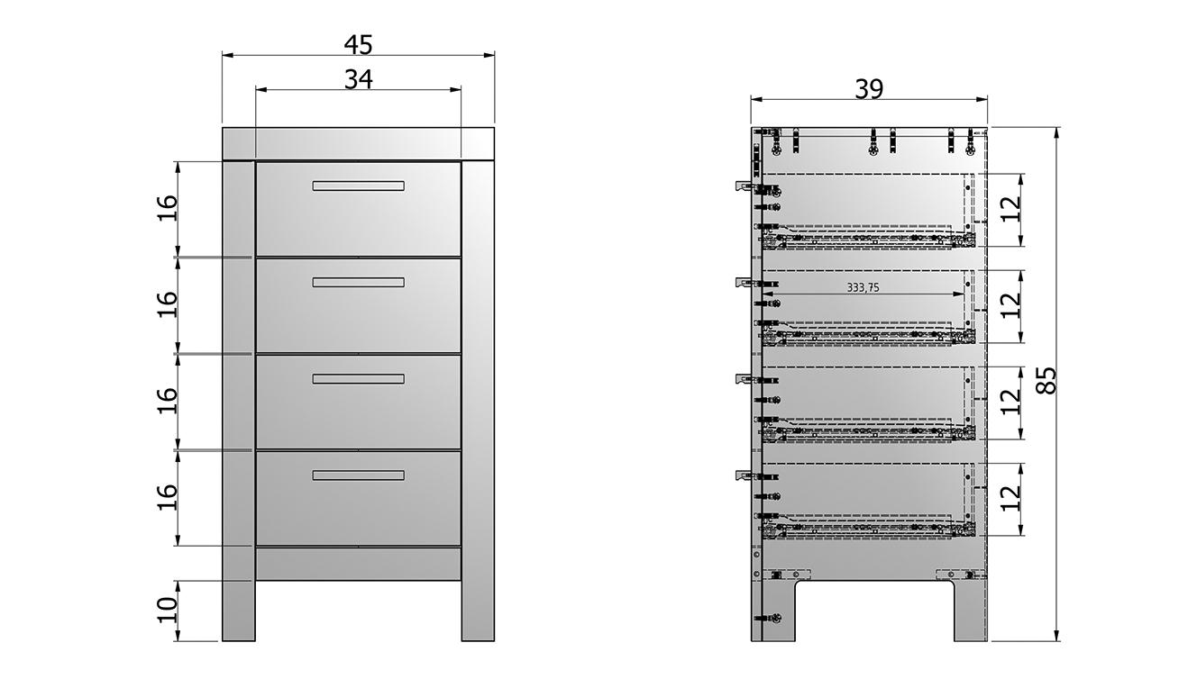 Bronx drawer cabinet taupe [fsc]