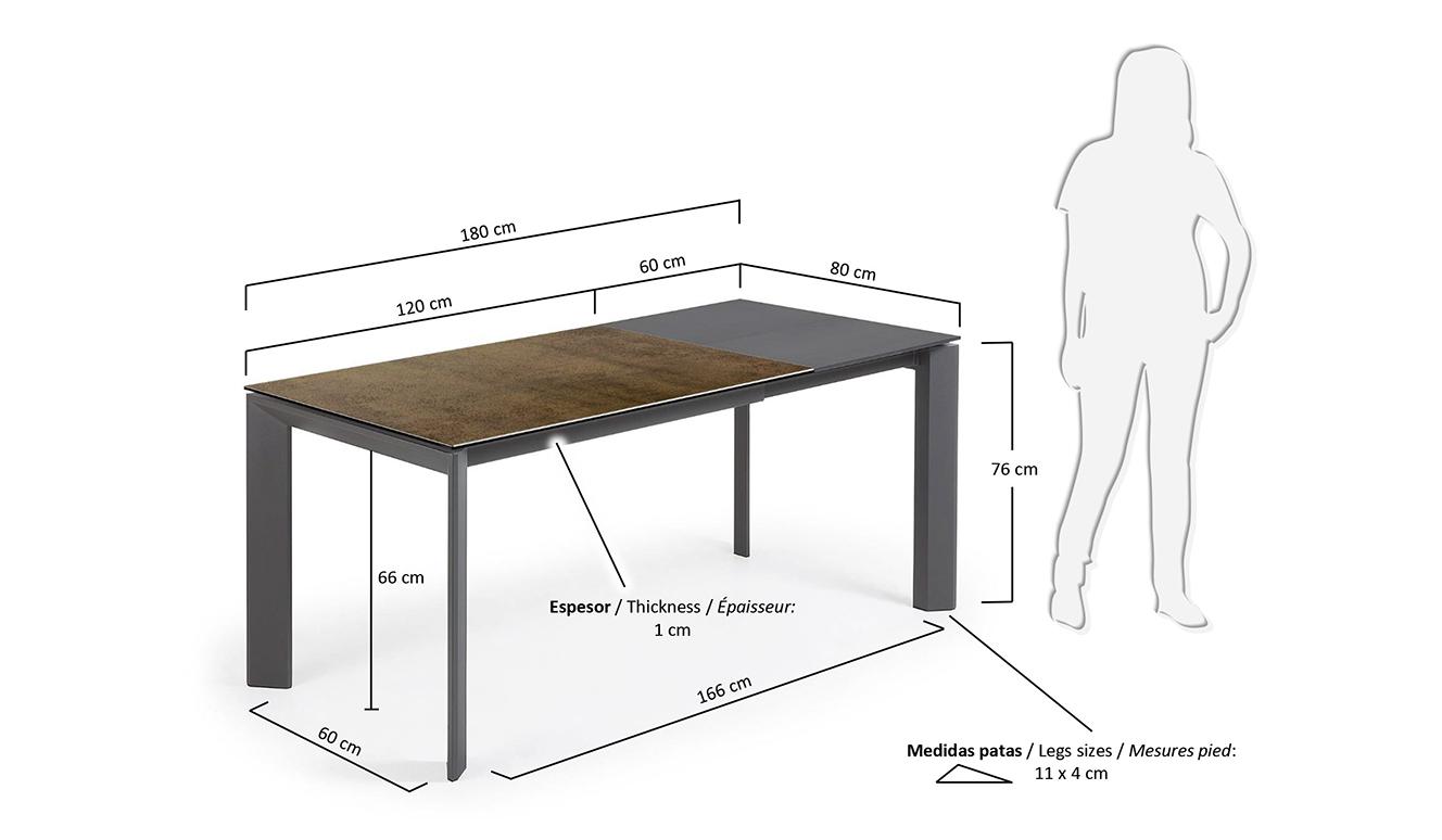 Axis uitschuifbare tafel 120 (180) cm porselein afwerking Iron Corten antraciet benen