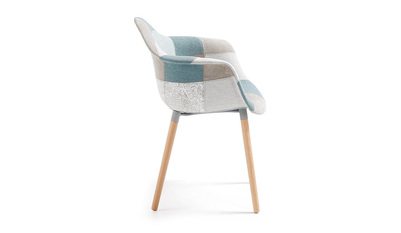 Kevya patchwork stoel blauw
