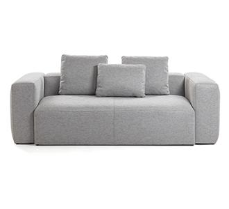 Bank Blok 3 zitplaatsen lichtgrijs kussens inbegrepen