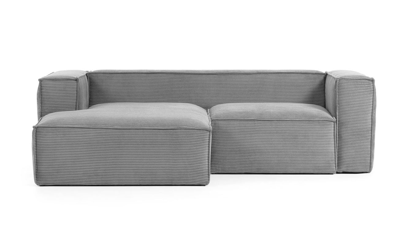 2 persoonsbank Blok met chaise longue links van grijs corduroy 240 cm