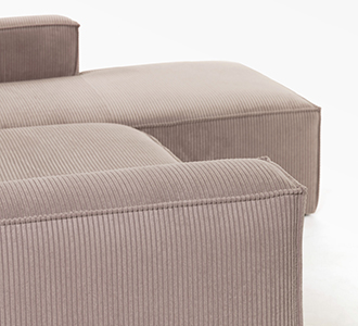 2 persoonsbank Blok met chaise longue rechts van roze corduroy 240 cm