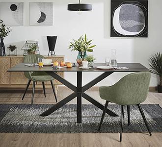 Argo tafel 160 cm porselein afwerking Iron Moss zwart benen